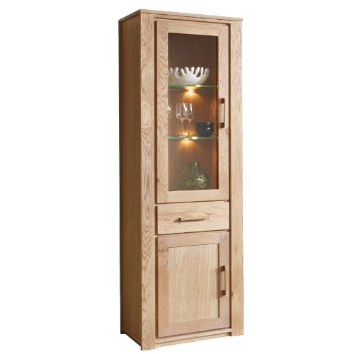 vitrine wildeiche massiv ge lt esszimmer schrank vitrinenschrank highboard g nstig online kaufen. Black Bedroom Furniture Sets. Home Design Ideas