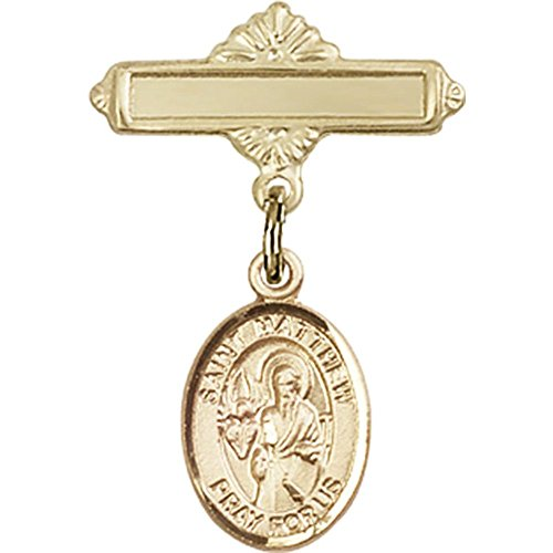 14kt Yellow Gold Baby Badge with St. Matthew the Apostle Charm and Polished Badge Pin 1 X 5/8 inches by Bonyak Jewelry Saint Medal Collection