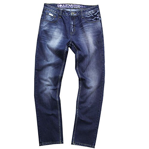 SoulStar MP General Herren Jeans - Jeans dunkle Waschung, 30W x 34L