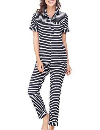 RIKILIO Women's Soft Sleepwear Cotton Short Sleeve Pajama Set(Dark Blue -