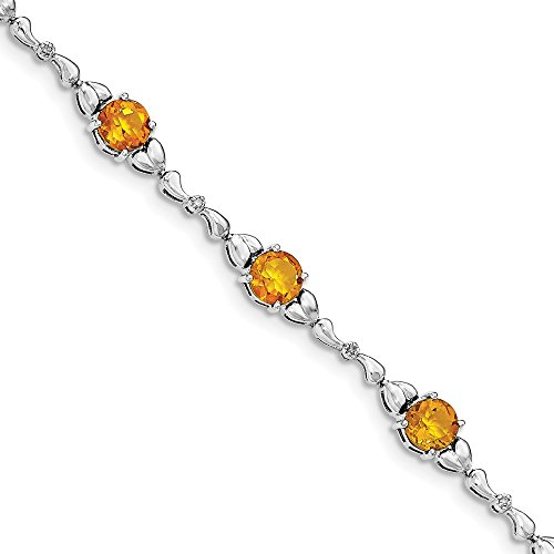 Sterling Silver Citrine & Diamond Bracelet by CoutureJewelers
