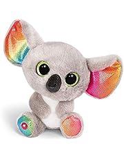 NICI 46319 Glubschgosedjur Koala Miss Crayon 15 cm, fluffig mjuk leksak med stora glitterögon, söt mjuk leksak för barn och gosedjur älskare, grå/färgglad, en storlek