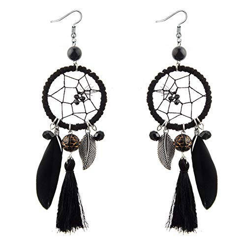 (VONRU Boho Feather TasselEarrings - Big Feather Statement Earrings for Women - Indian Long Dangle Earrings for Girl Daughter Sister Idea Gift for Holiday Party (Black Dreamcatcher Earrings))