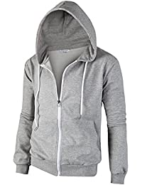 Tov9 Mens Cotton Slim Fit Zip-Up Lightweight Pocket Hoodie jacket