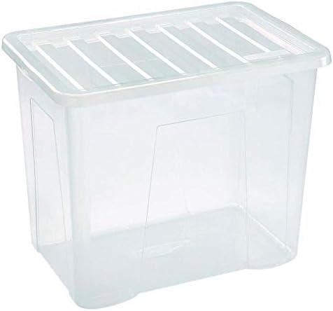 10 x 80 litros Extra grande fuerte plástico caja de almacenamiento con tapa transparente.: Amazon.es: Hogar