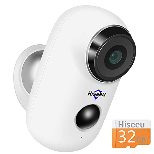 ([32GB Preinstalled] Battery Powered Outdoor Camera,Wireless Home Security Camera,Two-Way Audio,IP65 Waterproof,Night Vision,Built-in Battery,Multi-People Remote,2.4GHz WiFi,6 Months PIR Motion)