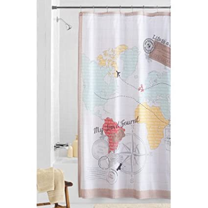 Image Unavailable Not Available For Color Mainstays World Traveler Fabric Shower Curtain