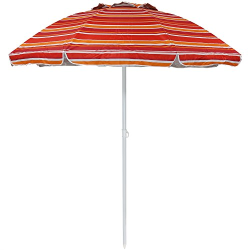 Sunnydaze 6-Foot Vented Beach Umbrella with Tilt Function and UV 50 Sun Protection, Striped Malibu Dream