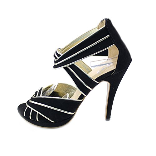 Ladies Size Evening Shoes Gold Heel Party amp;W W Black Prom Women High Casual Sandals POLEN qEESZA