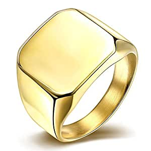 Fashion Square Smooth Stainless Steel Ring Gold 9 US Size