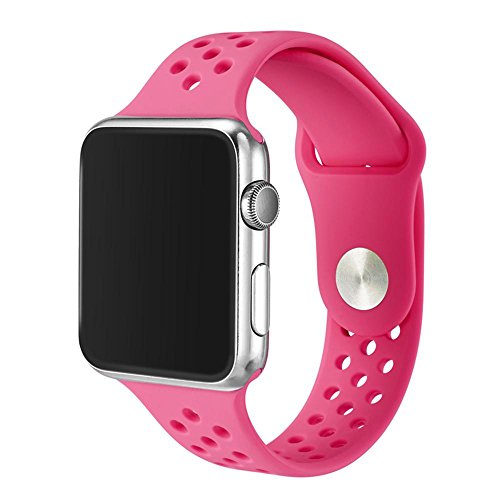 Kobwa 38MM/42MM Watch Band for Apple Watch, Soft Silicone Sport Strap with Ventilation Holes Smart Watch Bracelet Replacement Bands For Iwatch Series 1 Series 2