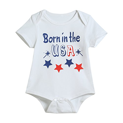 Little Fancy 3PCS Newborn Toddler Baby Boys Girls 4th of July Short Sleeve Romper USA Flag Pants and Hat