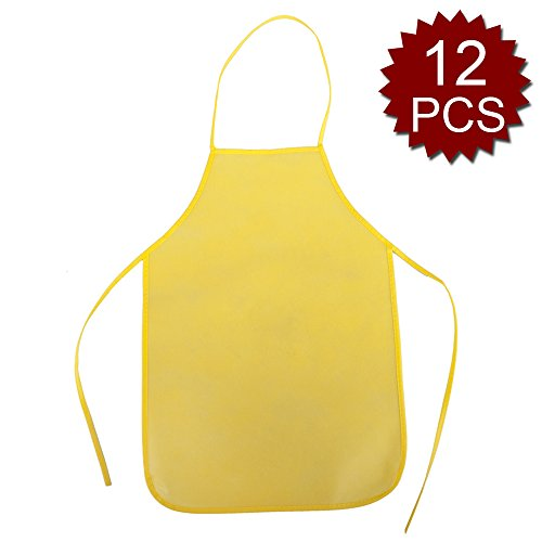 Opromo 12 Pack Non-Woven Fabrics Unisex Colorful Kids Apron for DIY Painting Artist Available in Two Sizes(S/M)-Yellow-S