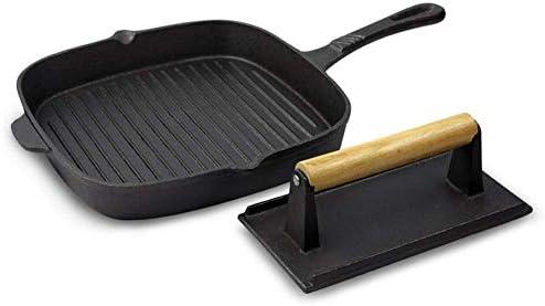 ZTMN Plaque de Cuisson en Acier Inoxydable Multifonction poêle à Frire Cuisson Steak Frit Barbecue Noir Taille: 41 * 26 * 4 cm
