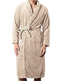 Flannel Robe-Men Long Warm Bathrobe for Winter, Soft Thick Knit Sleepwear