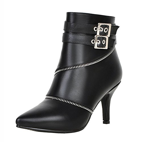 Stiletto Toe Heels Winter Black Boots Buckle Elegant Agodor Closed Shoes With High Ankle Zip Womens xqICwEACWv