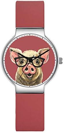 腕時計 女の子 子供 日本製 クォーツ 腕時計 ピンクのシリコンバンド 豚 ウェア メガネ 腕時計 可愛い スポーツ 子供 カジュアル 防水 ゴム製