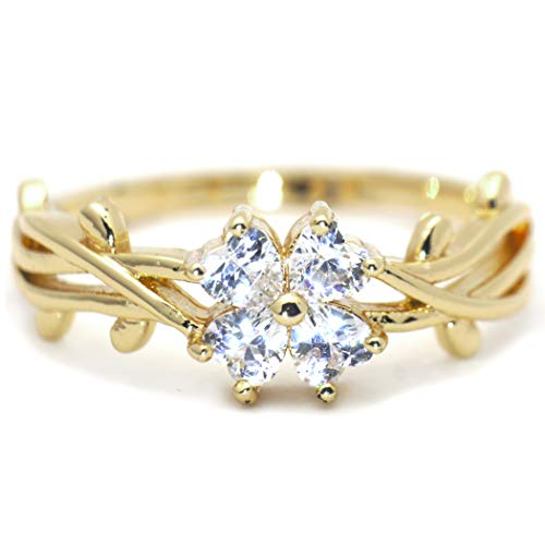 (Gieschen Jewelers 'Angelica' 14K Yellow Gold-Plated Dainty Clover Vine CZ Ring, Size)