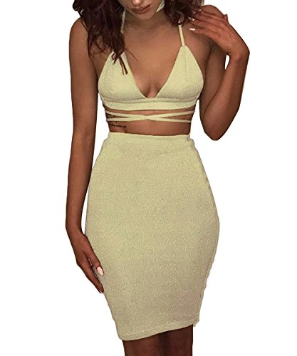 Doramode Womans Sexy Spaghetti Strap Low Cut Wrap Knit Cotton Blend Taffeta Skirt 2 Pieces Outfit Clubwear Casual Dress Yellow Small