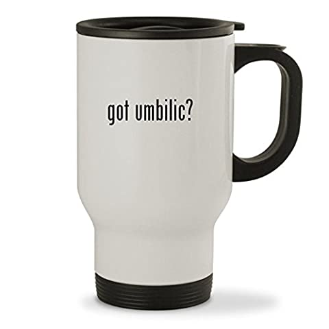 got umbilic? - 14oz Sturdy Stainless Steel Travel Mug, White (Umbilical Bands Or Straps)