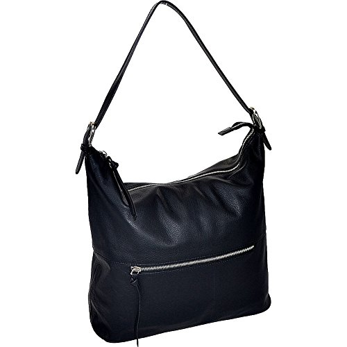 - R & R Collections Leather Top Zip Hobo (Black)