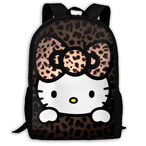 MPJTJGWZ Casual Backpack Leopard Hello Kitty Print Zipper School Bag Travel Daypack Backpack - Hello Kitty Leopard Print