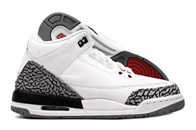 new style 9f9f2 83fd2 Amazon.com   Air Jordan III (3) Retro (Kids) (White   Fire Red-Cement Grey- Black) 5.5 M US Big Kid   Shoes