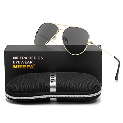 Aviator Polarized Sunglasses Classic Metal Frame TAC Lenses Driving Sun Glasses Retro Mens Womens Eyewear UV400 Protection Grey Lens/Gold Frame