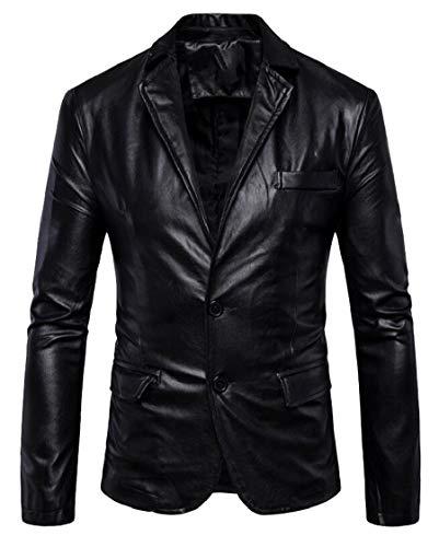 Jaycargogo Mens PU Leather Dress Blazers Men Wedding Party Suit Jacket Motorcycle Faux Leather Black L by Jaycargogo