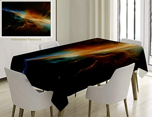 (Unique Custom Cotton And Linen Blend Tablecloth Outer Space Decor Collection Astronomy Celestial Meteorite Supernova Dark Mysterious Space Picture DarTablecovers For Rectangle Tables, 70 x 52 Inches)