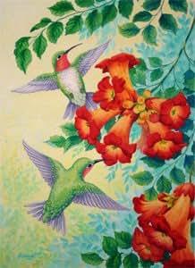 Trumpet Flowers Hummingbirds Large Flag
