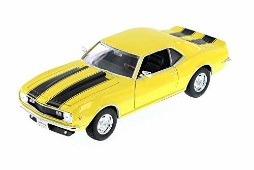 Welly 1968 Chevy Camaro Z28, Yellow w/ Black 22448WYL - 1/24 Scale Diecast Model Toy Car