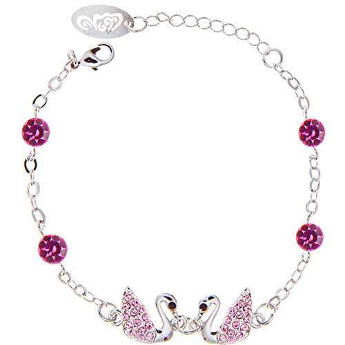 Rhodium Plated Bracelet with Loving Swans Design with Lobster Clasp and Rose Crystals by - Rose Tiffany Key Gold