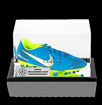 e733054104d4b Neymar Jr Official Uefa Champions League Autographed Signed Blue Nike  Mercurial Njr Boot In Acrylic Case at Amazon s Sports Collectibles Store