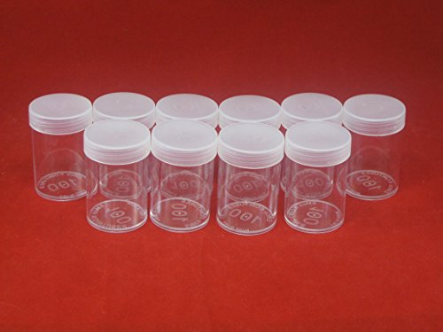 (10) Edgar Marcus Brand Round Clear Plastic (Large Dollars) Size Coin Storage Tube Holders with Screw on Lid