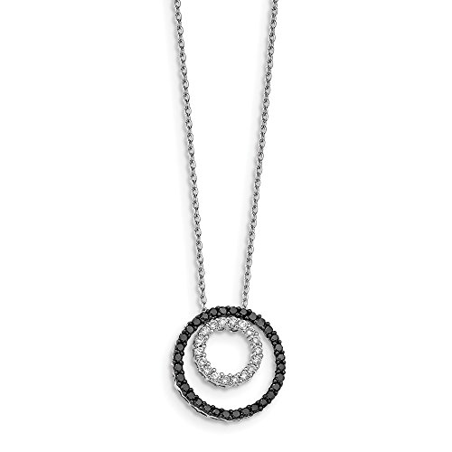 925 Sterling Silver (0.75cttw) Black and White Diamond Double Circle Pendant with Necklace -18