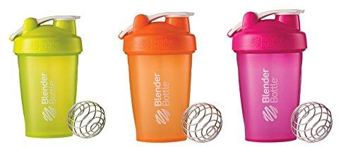 Blender Bottle OoCIN 20oz Classic Loop 3 Bottles Full Color Green, Orange, Pink