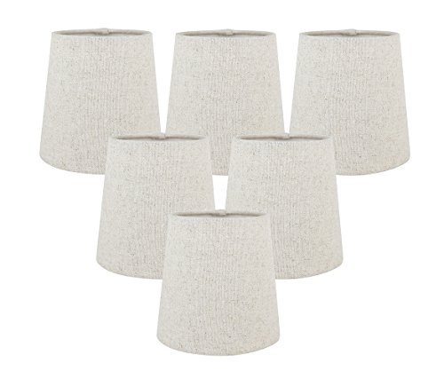 Meriville Set of 6 Natural Linen Clip On Chandelier Lamp Shades, 4-inch by 5-inch by 5-inch