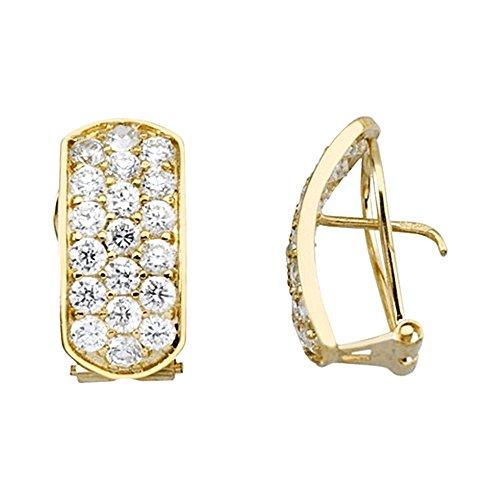 Boucled'oreille 18k or zircons lunette rangées [AA6445]