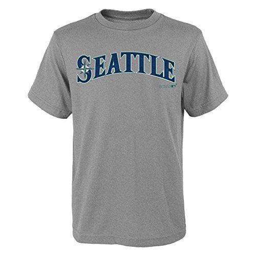 (MLB Seattle Mariners Youth Boys 8-20 Wordmark Tee-M (10-12), Heather Grey)