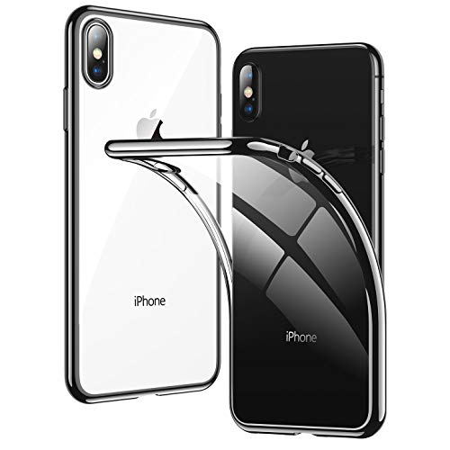 (RANVOO Clear iPhone Xs Case/iPhone X Case, Soft Silicone Cover with Jet Black Electroplated Bumper Thin Slim Fit for iPhone Xs/X 5.8 Inch(2018), Jet Black)