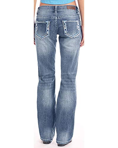 - Rock & Roll Cowgirl Women's and Light Wash Riding Boot Cut Jeans Blue 34W x 36L