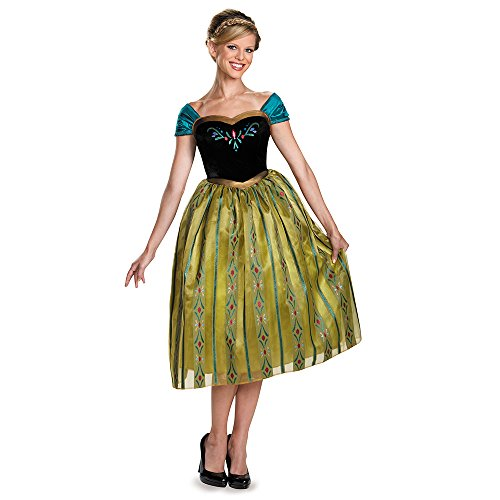 Anna Coronation Dress For Adults (Disguise Women's Anna Coronation Deluxe Adult Costume, Multi, Small)