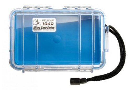 Pelican Blue 1040 Micro Case with Clear Lid and Carabineer