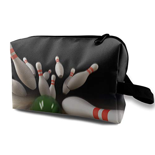 With Wristlet Cosmetic Bags Bowling Game Travel Portable Makeup Bag Zipper Wallet Hangbag -