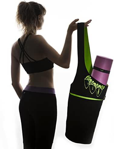 Yoga Mat Bag - Elegant & Embroidered Cotton Tote With 2 Pockets | Wide Sling Carrier With Long Strap & 2 Elastic Mat Bands