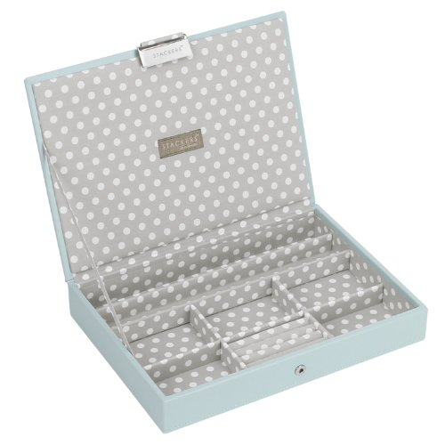 (STACKERS 'CLASSIC SIZE' Duck Egg Blue Lidded STACKER Jewelry Box with Gray Polka-Dot)