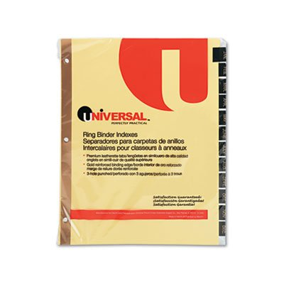 UNIVERSAL OFFICE PRODUCTS, Leather-Look Mylar Tab Dividers, 12 Month Tabs, Letter, Black/Gold, 12/Set