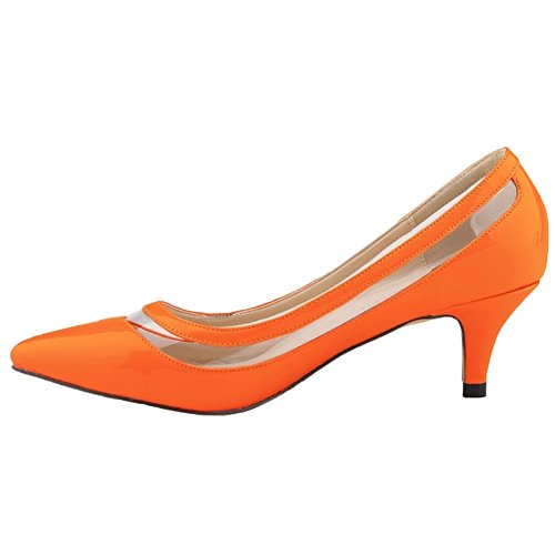 HooH Women's Kitten Heel Transparent Pointed Toe Work Dress Pumps Orange 6sejig