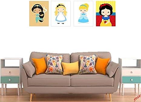 Kit 4 Quadros Infantis Princesas Disney Desenho 40x30 Amazon Com